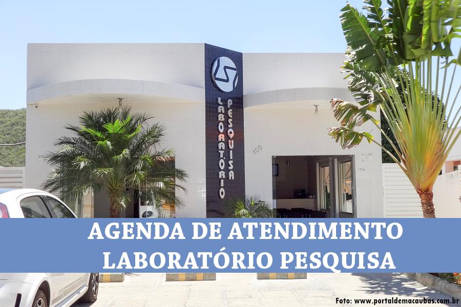 AGENDA DE ATENDIMENTO DO MÊS DE ABRIL/MAIO – LABORATÓRIO PESQUISA
