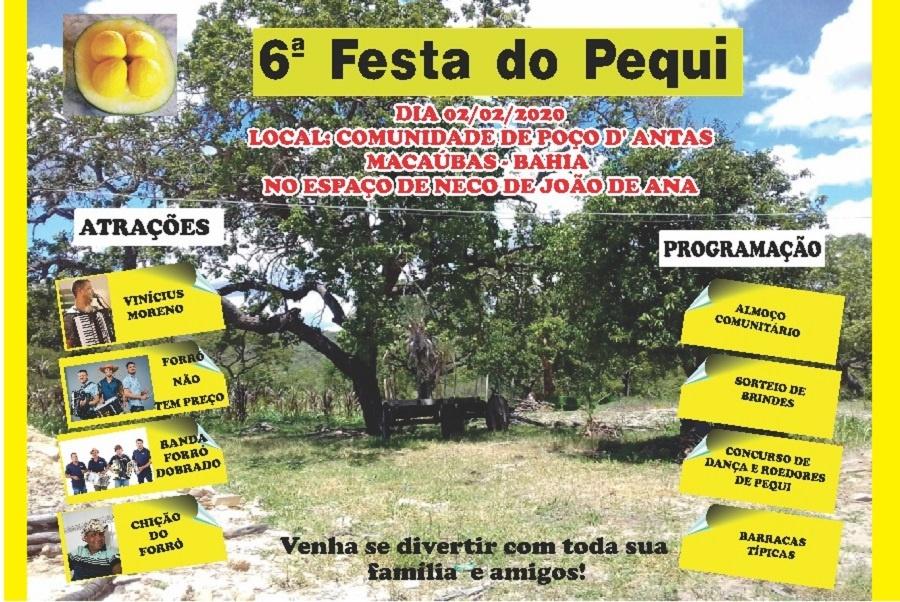 A 6ª FESTA DO PEQUI SERÁ NO DIA 02 DE FEVEREIRO DE 2020