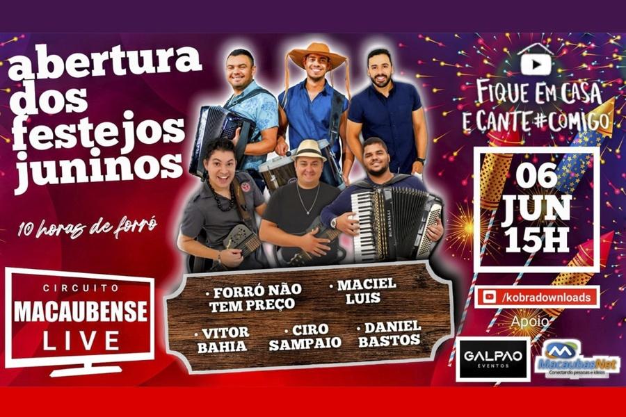 LIVE COM 10 HORAS DE FORRÓ! A PARTIR DAS 15H DESTE SÁBADO, 06/06, ABERTURA DOS FESTEJOS JUNINOS 2020